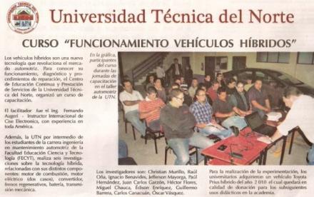 Curso en la Universidad Técnica del Norte